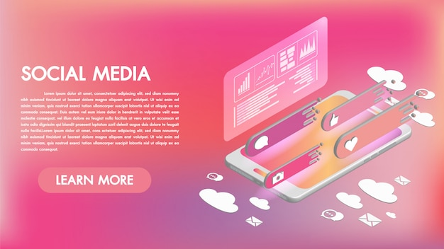 Social media apps on a smartphone 3d isometric icons Premium Vector