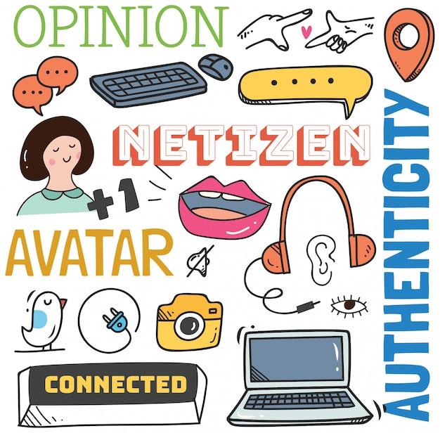 Social media background in doodle style illustration Premium Vector