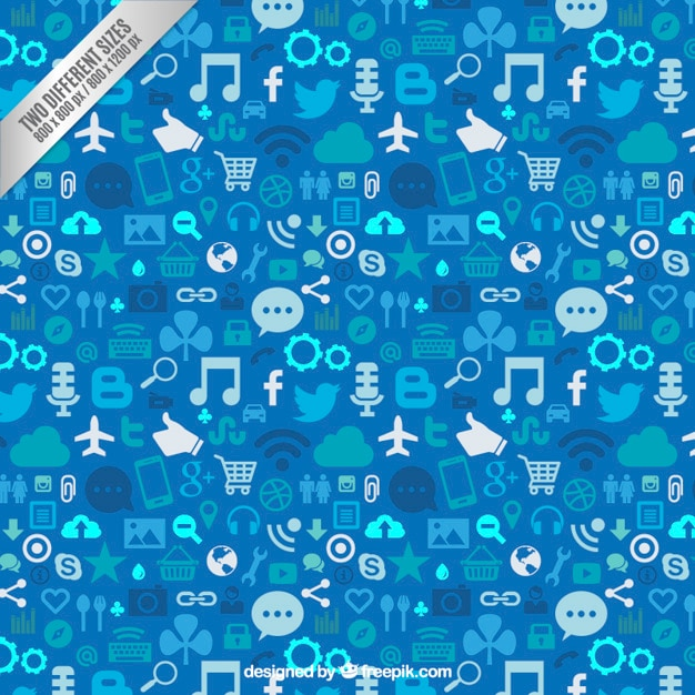 social media background in blue tones vector premium download