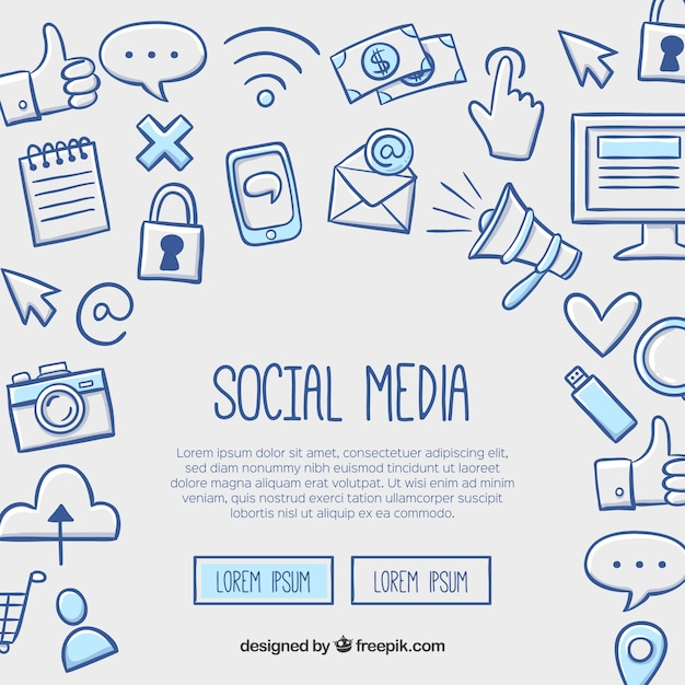 Social media background in hand drawn style Free Vector