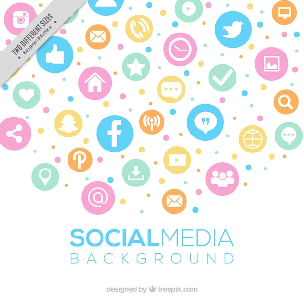 social media background in pastel colors vector free download