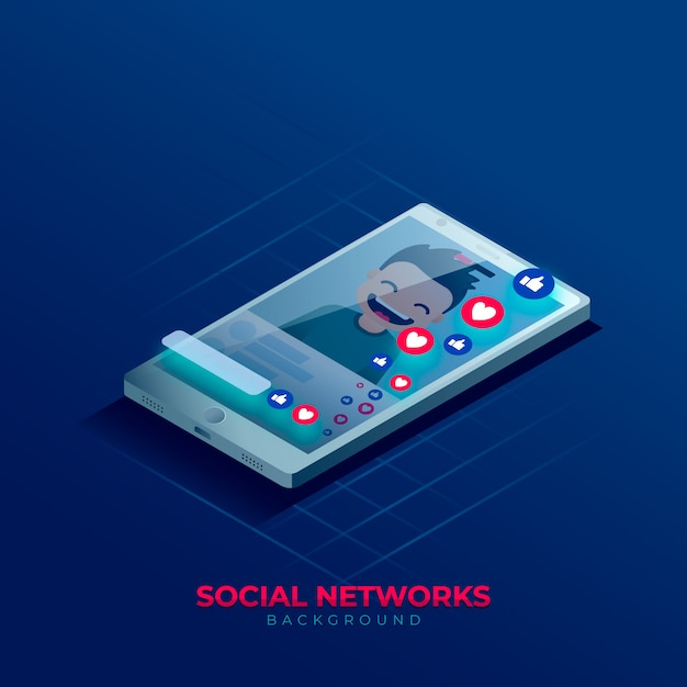 Social media background in isometric style Premium Vector