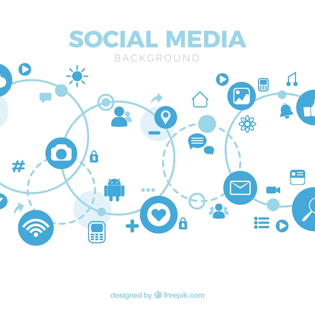 Social media background with flat design Free Vector
