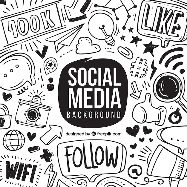 Social media background with hand drawn elements Free Vector
