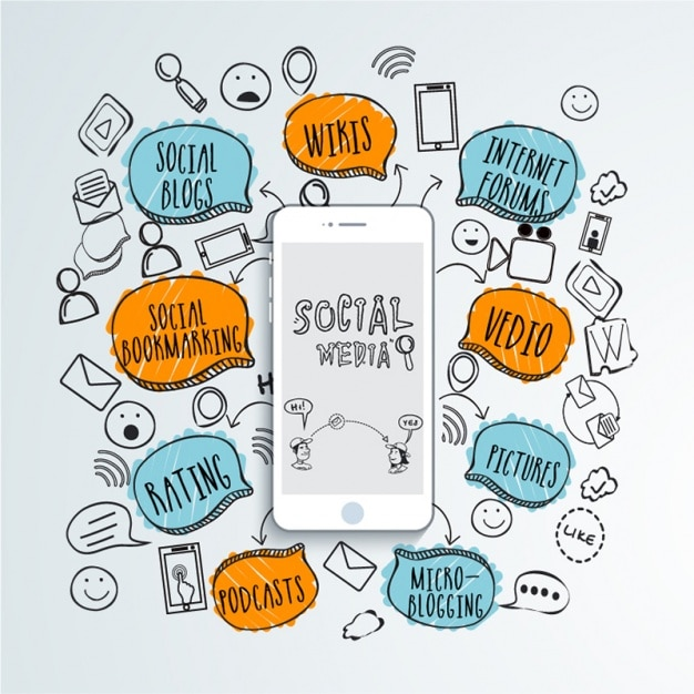 Social media background with mobile phone and coloured speech bubbles Premium Vector