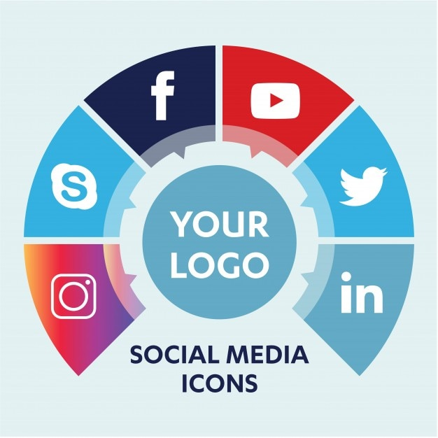 social media background with objects  group of elements Premium Vector