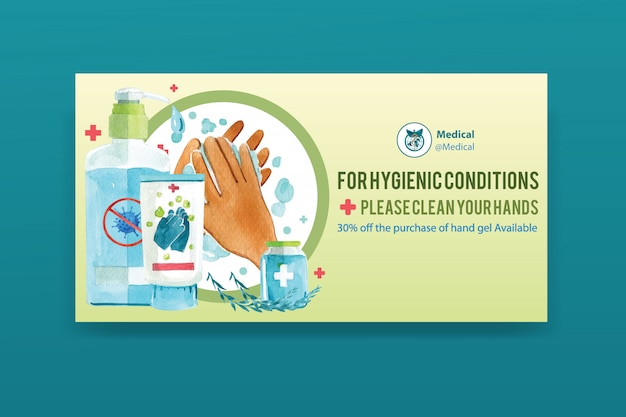 Social media banner decorated with washing gel, hands watercolor illustration. Free Vector