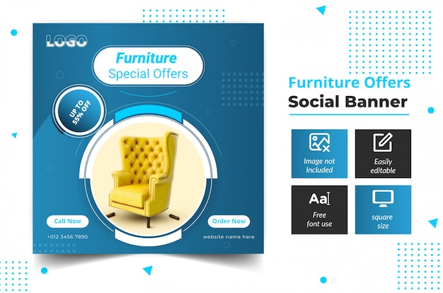 ソーシャルメディアバナー家具テンプレートデザイン Premiumベクター