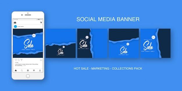Social media banner instagram blue collections pack Premium Vector