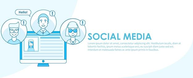Social media banner strategy Free Vector
