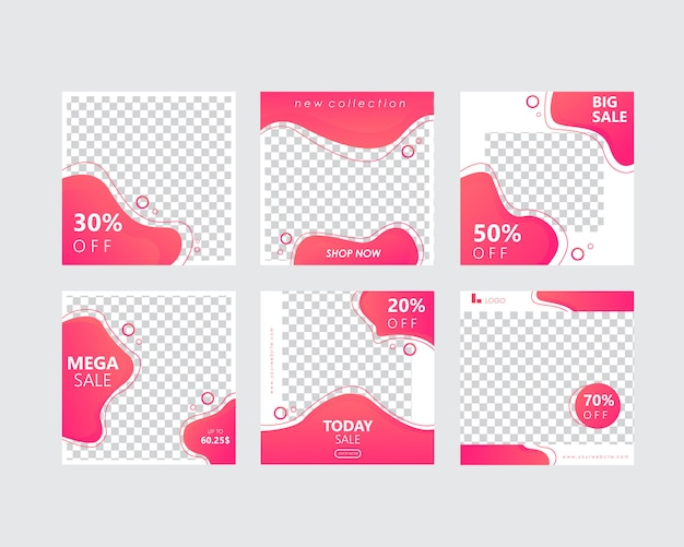Social media banner template pack for stories and post Premium Vector