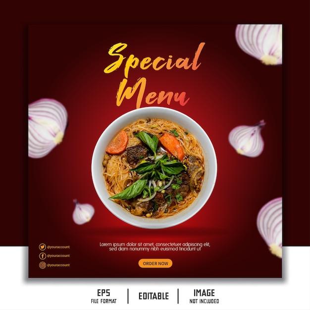 ソーシャルメディアバナーテンプレート投稿ストーリーフィード食品レストラン麺 Premiumベクター