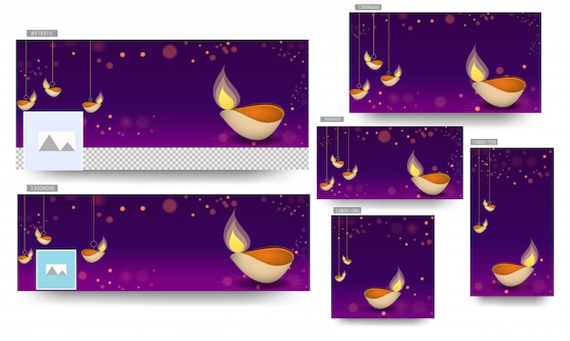 Social media banner template set with hanging illuminated oil lamp (diya) decorated on purple bokeh background for happy diwali celebration. Premium Vector