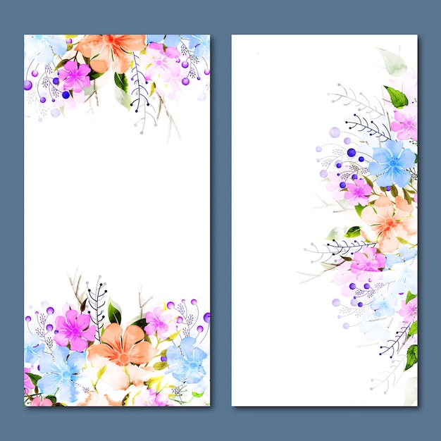 Social Media banners with colorful flowers decoration. Premium Vector