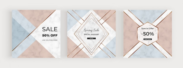 Social media banners with geometric design with pink, blue triangular shapes, golden lines. Premium Vector