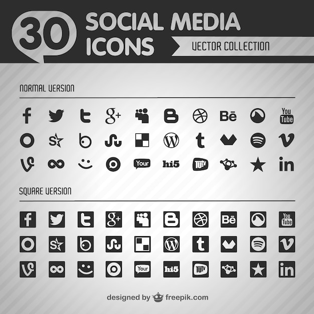 Social media black icons Free Vector