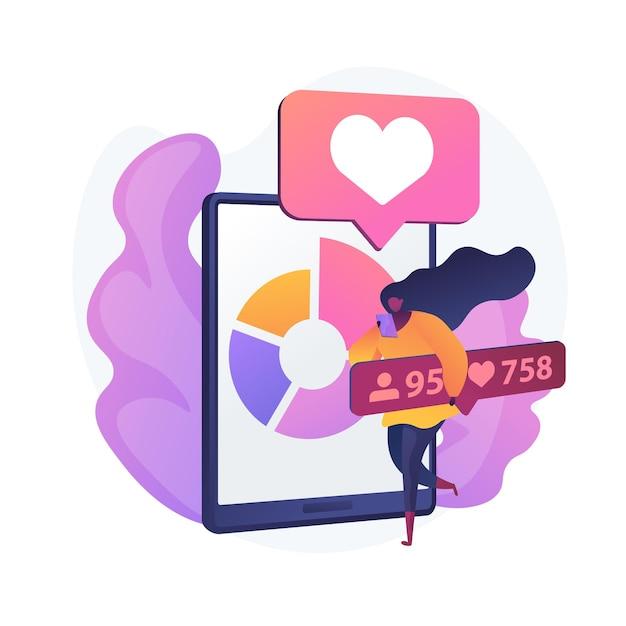 소셜 미디어 블로그 마케팅. 스마트 폰 앱 디자인 개발. 온라인 네트워크 인플 루 언서 캐릭터. 인터넷 광고, 추종자, 유치를 좋아합니다. 무료 벡터