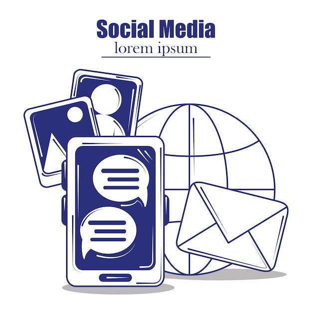 ソーシャルメディア青い線塗りつぶしスタイルイラスト Premiumベクター