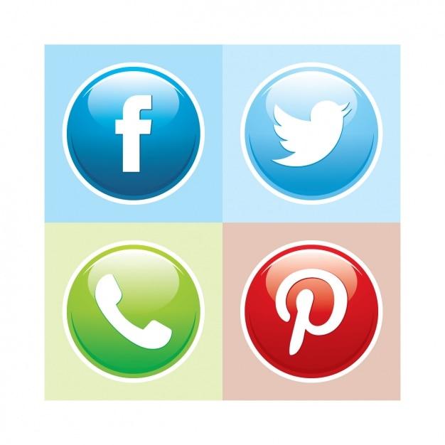 Social Media Button Collection Vector