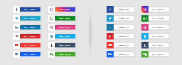 Стиль кнопки социальных медиа нижняя треть дизайн Бесплатные векторы