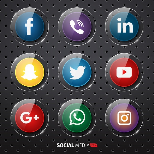 Social media buttons collection Free Vector