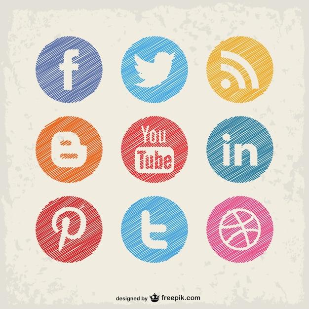 Social media buttons set Free Vector