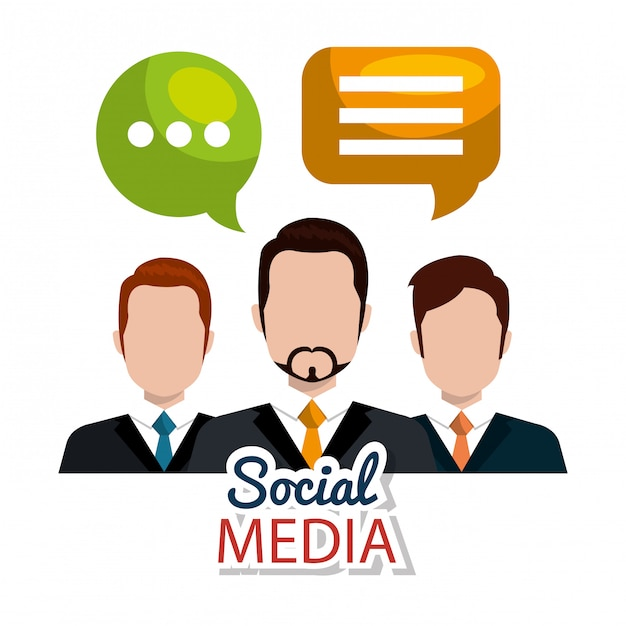 Social media, characters with bubbles Free Vector