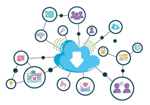 ソーシャルメディアクラウドコンピューティングテクノロジーデジタルネットワーク接続の図 Premiumベクター