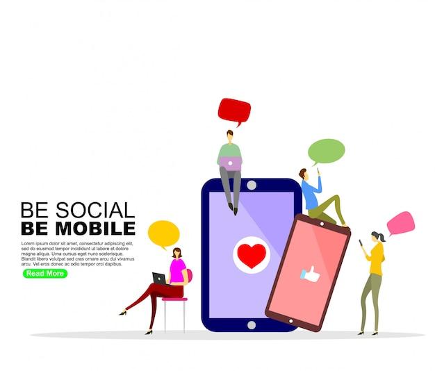Social media communication background template Premium Vector