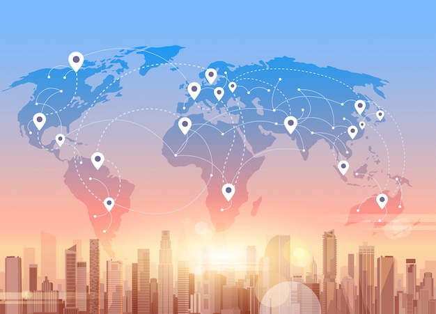 Social media communication internet network connection city skyscraper view world map background Premium Vector