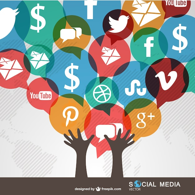 Social media communication worldwide Free Vector