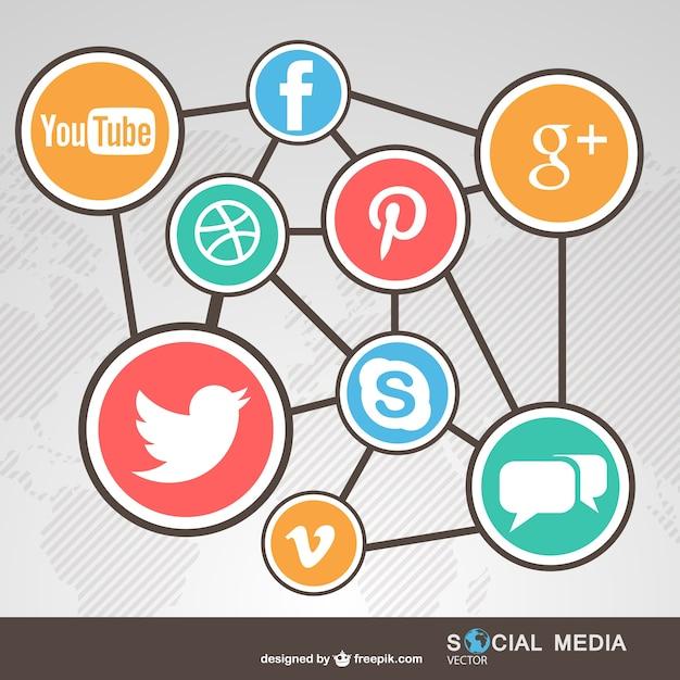 Social media complex network Free Vector
