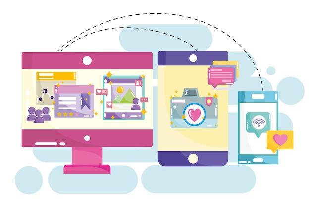 ソーシャルメディアコンピュータータブレットとスマートフォンカメラ写真インターネットウェブサイトイラスト Premiumベクター