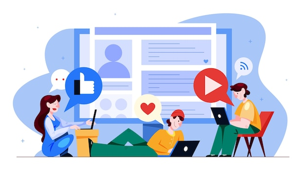 Social media concept. global communication, sharing content and getting feedback. using networks for business promotion. marketing strategy.  illustration in cartoon style Premium Vector