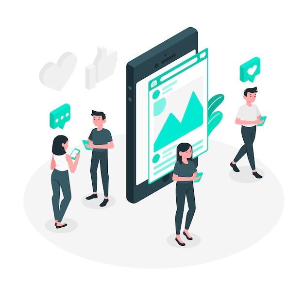 Social media concept illustration Free Vector