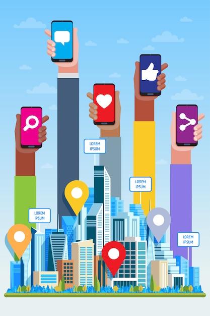 Концепция социальных медиа. небоскребы и руки Premium векторы