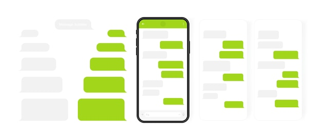 Social media  concept. smart phone with carousel  messenger chat screen. sms template bubbles for compose dialogues. modern  illustration  . Premium Vector