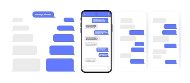 Концепция социальных сетей. смартфон с экраном чата карусели. шаблоны sms-сообщений для создания диалогов. современный стиль иллюстрации. Premium векторы