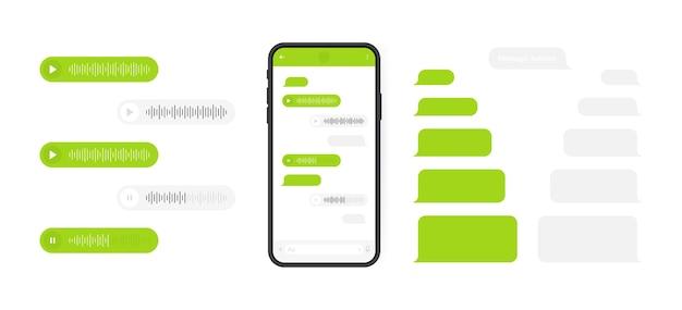 소셜 미디어 개념. 메신저 채팅 화면과 음성 웨이브가있는 스마트 폰. 작성 대화를위한 Sms 템플릿 거품. 현대 그림. 프리미엄 벡터
