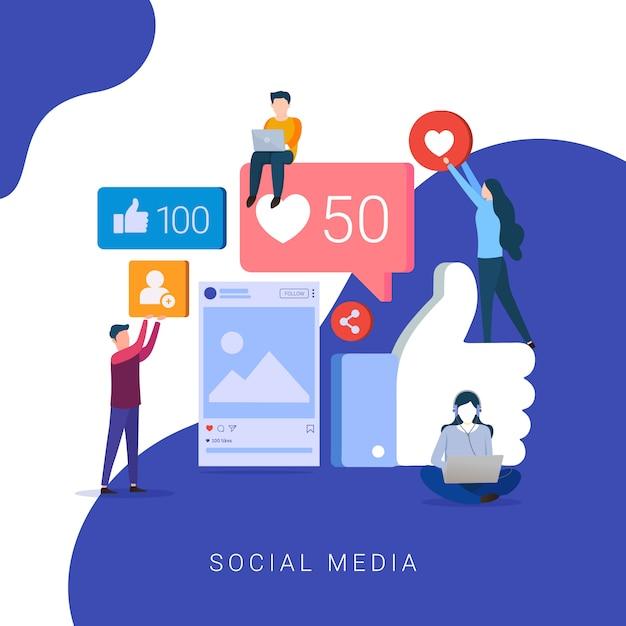 Social media concept for website and mobile website Premium Vector