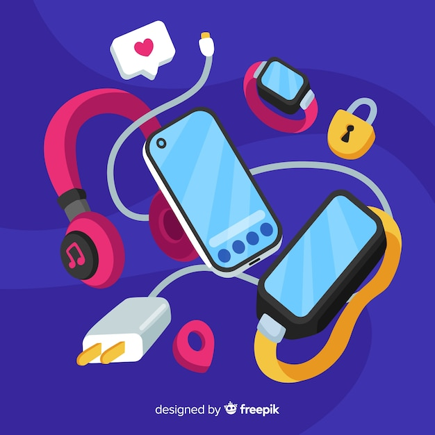 Social media concept with antigravity smartphone Free Vector