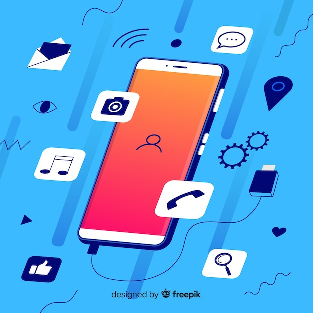 Social media concept with isometric mobile phone Free Vector