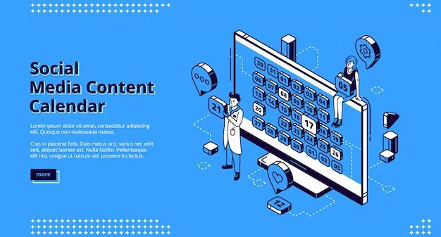 Social media content calendar isometric web banner Free Vector