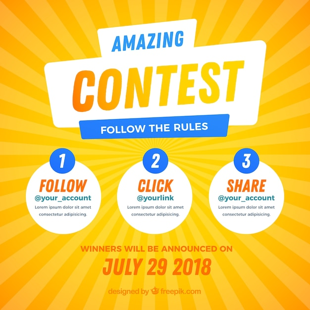 Social media contest design Free Vector