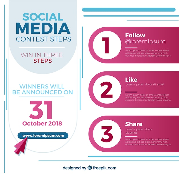 Social media contest or giveaway concept Free Vector