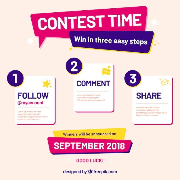 Страница конкурса социальных медиа Бесплатные векторы
