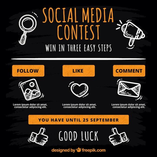 Pagina del concorso sui social media Vettore gratuito