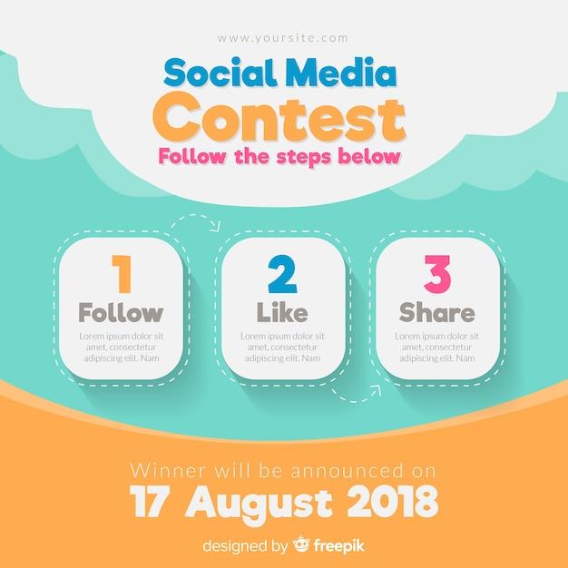 Social media contest steps with flat design Premium Vector