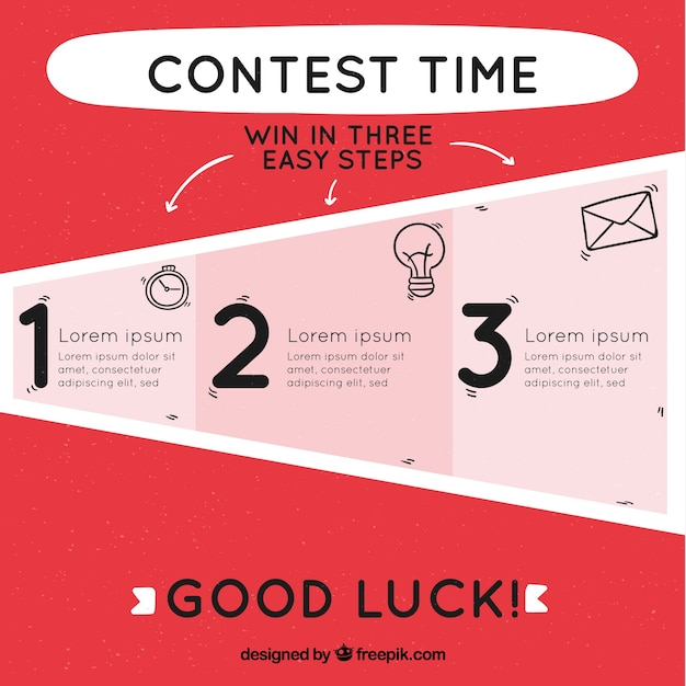 Social media contest steps with flat design Free Vector
