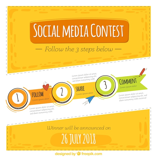 Social media contest template Free Vector